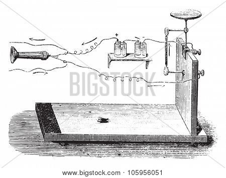 Microphone Hughes, vintage engraved illustration. Magasin Pittoresque (1882).