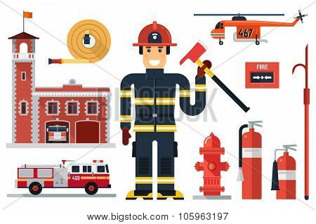 Vector illustration of firefighting character fire helicopter hose fire station fire engine fire alarm extinguisher axe hook and hydrant. Flat style. Elements for infographic. stock photo