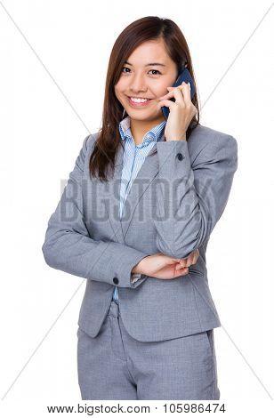 Aisan Businesswoman talk to cellphone stock photo