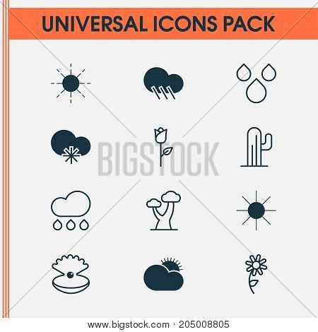 Harmony Icons Set. Collection Of Seashell, Sunny Weather, Cold Climate And Other Elements