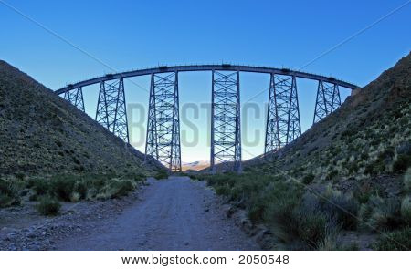spectacular El polvorillo Viaduct near salta Argentina stock photo