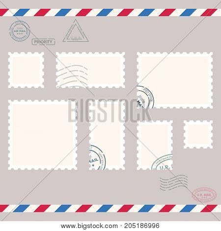 Postage stamps template. Blank rectangle square postage marks. Rubber wave stamps. Flat style modern vector illustration with retro colors. For for envelopes postcards or letter retro style paper.