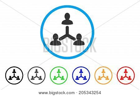 Social Relations rounded icon. Style is a flat social relations grey symbol inside light blue circle with black, gray, green, blue, red, orange color versions.