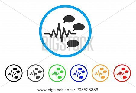 Gossip Generation Signal rounded icon. Style is a flat gossip generation signal grey symbol inside light blue circle with black, gray, green, blue, red, orange versions. stock photo