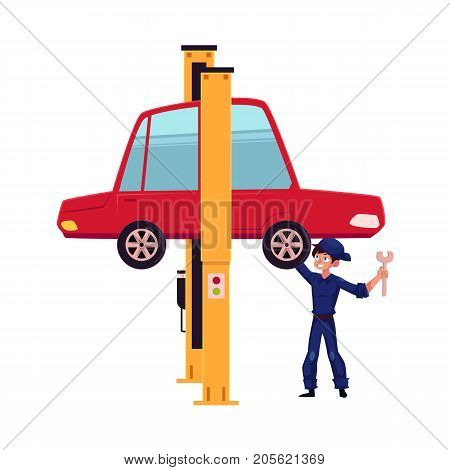vector flat cartoon funny young man, boy mechanic in blue uniform repairing lifted sedan car with big wrench. Male full lenght portrait caucasian character isolated, illustration on a white background stock photo