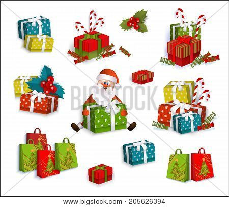 Set of colorful gift, present boxes and cartoon Santa Claus, Christmas decoration elements, flat vector illustration on white background. Christmas presents, gift boxes, colorful decoration elements stock photo