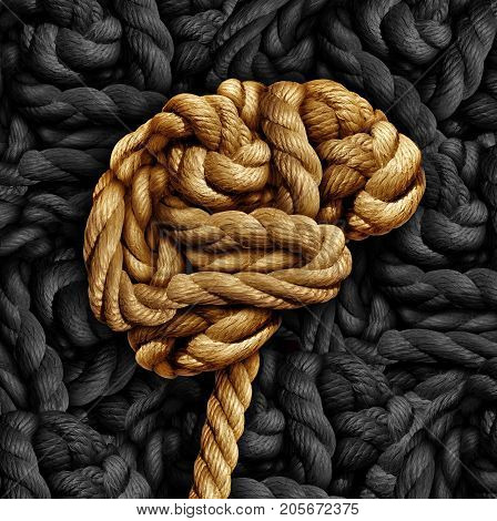 Brain disorder mental health concept as a rope twisted into a human thinking organ as a medical neurological symbol for mind function or diseases as dementia or autism. stock photo