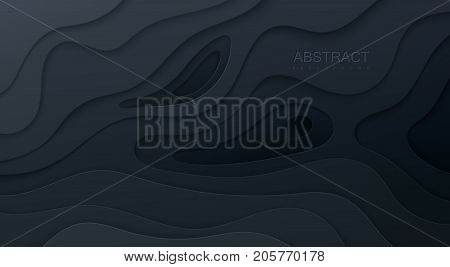 Black paper cut background. Abstract realistic papercut decoration textured with wavy layers. 3d topography relief. Carving art. Vector illustration. Cover layout template. Material design concept.