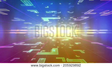 Op art 3d illustration of a blue and violet background with flying corners of diverse sizes located on two surfaces of a holographic cyberspace and dashing to a dazzling center with radiant rays stock photo