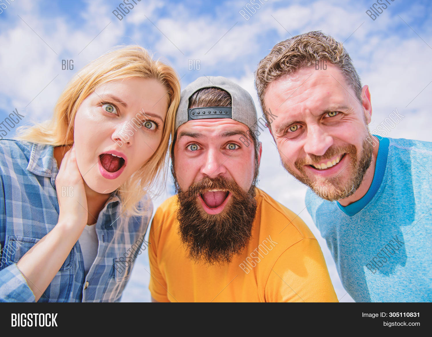 How To Impress People. Shocking Impression. Men With Beard And Woman Looking Shocked. No Way. Friend