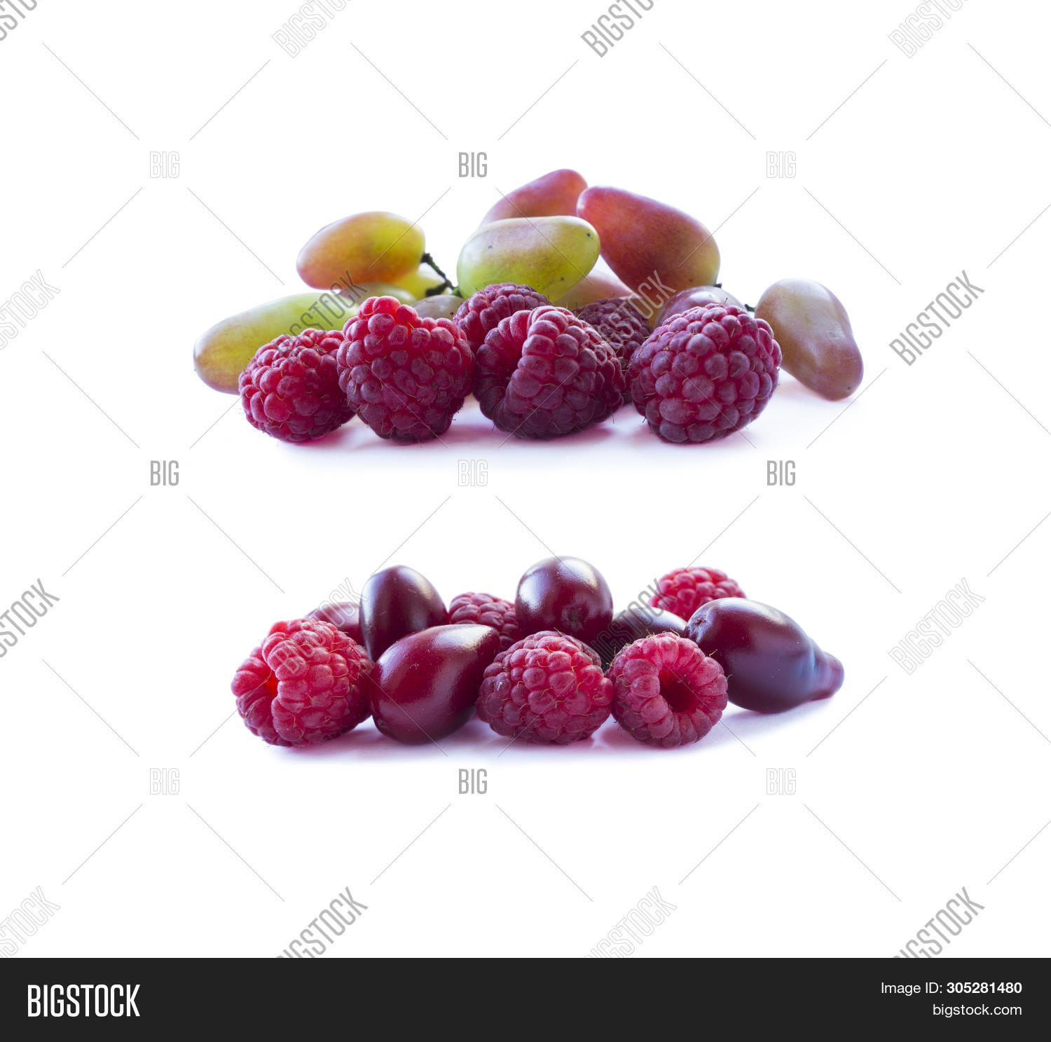 Pink Berries Isolated On White Background. Ripe Raspberries And Grapes. Background Of Mix Berries Wi