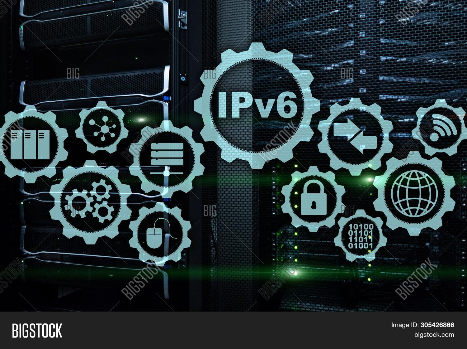 Ipv6 Internet Protocol On Server Room Background. Business Technology Internet And Network Concept.