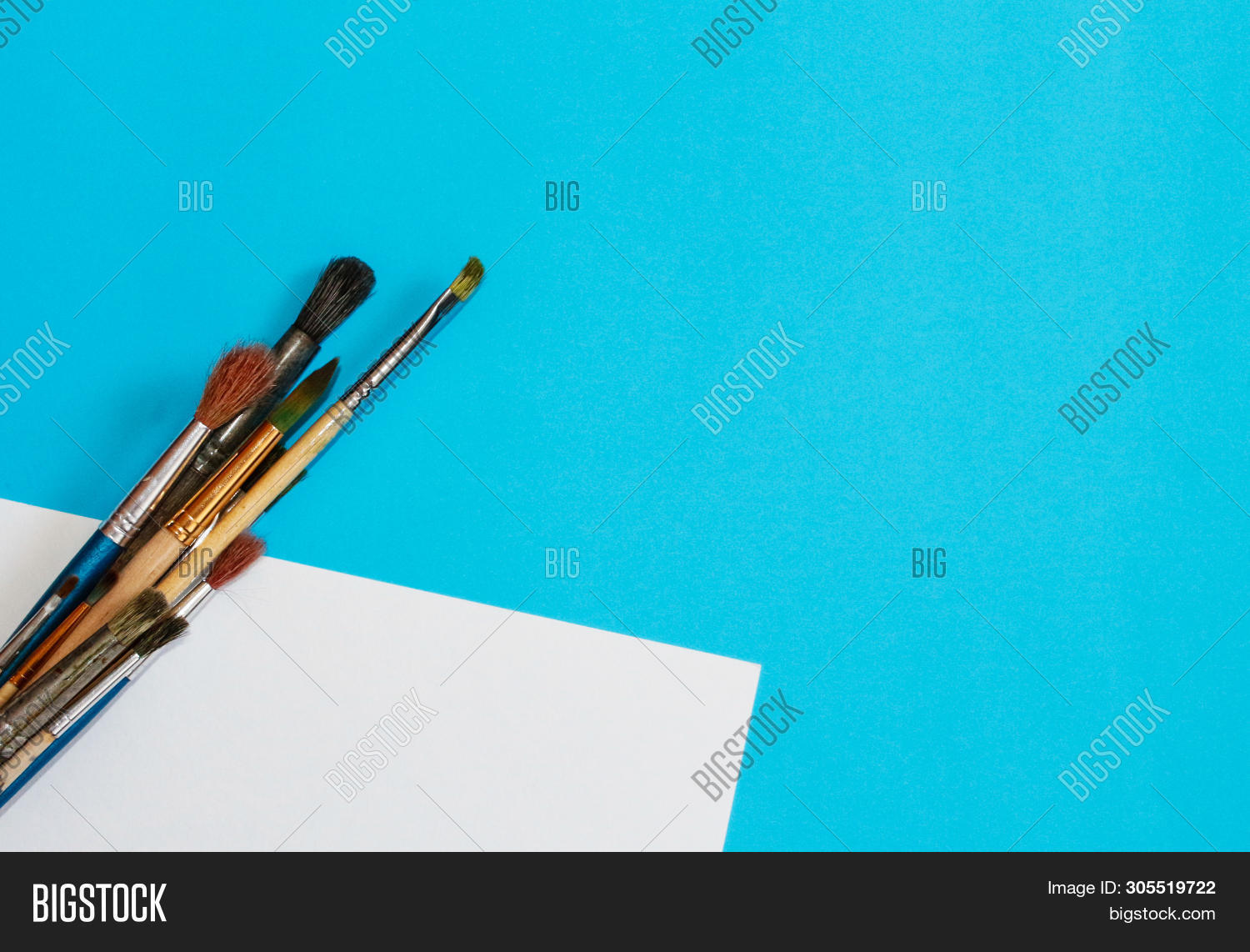 accessories,art,artist,artistic,artwork,background,blue,brush,closeup,color,colorful,concept,copy,craft,creative,creativity,design,drawing,education,equipment,for,hobby,paint,paintbrush,painting,school,space,student,supplies,text,tools,work