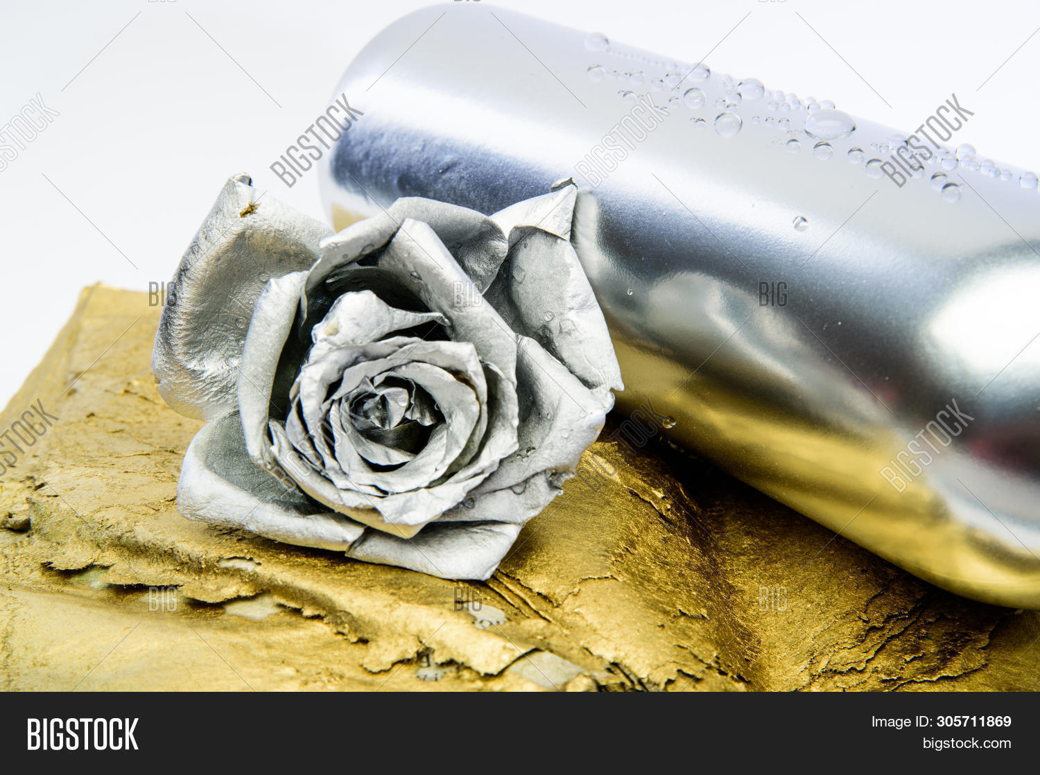 Floral Wine. Metal Flower In Steel Silver Bottle. Forging And Sculpture. Silver Metal. Romantic Date