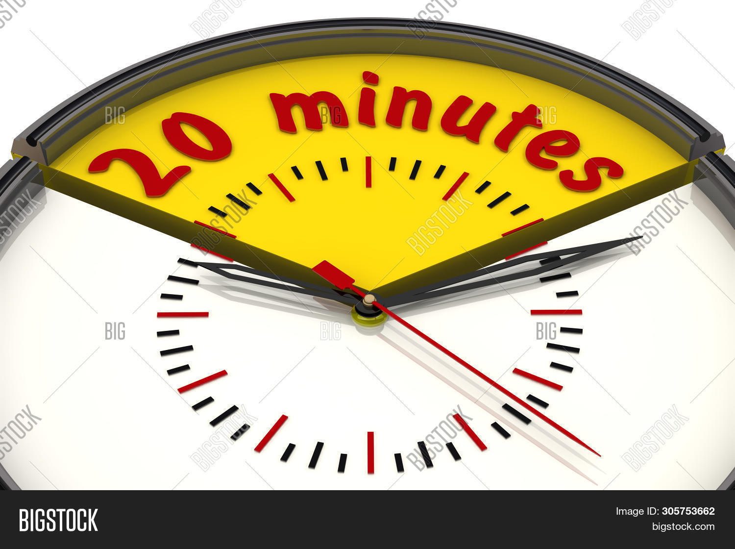 Twenty Minutes On The Clock. The Time Interval Of Twenty Minutes On The Analog Clock. Isolated. 3d I