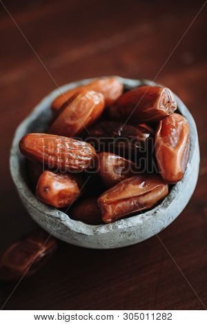 Food. Delicious date fruits on the table stock photo