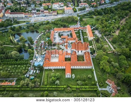 Brevnov Monastery is a Benedictine archabbey in district of Prague, Czech Republic. It was founded by Saint Adalbert, the second Bishop of Prague, in 993 AD with the support of Duke Boleslav II. stock photo