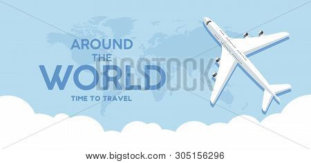Travel, Banner, Tourism, Vector, Illustration, World, Background, Airplane, Vacation, Business, Web,