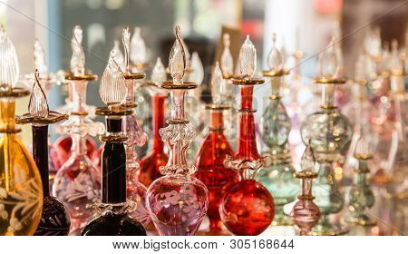 beautiful Arab perfume bottles display on sale stock photo