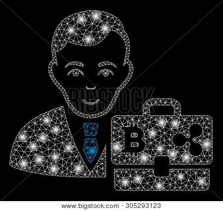 Bright mesh cryptocurrency accounter with glow effect. Abstract illuminated model of cryptocurrency accounter icon. stock photo