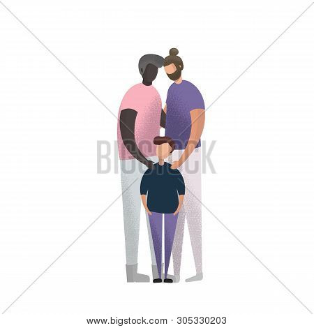 Vector illustration caucasian and african american Gay Couple and adoption son. stock photo