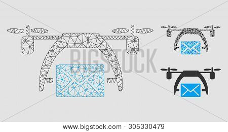 Mesh drone mail model with triangle mosaic icon. Wire frame triangular mesh of drone mail. Vector composition of triangle parts in variable sizes and color hues. Abstract flat mesh drone mail, stock photo