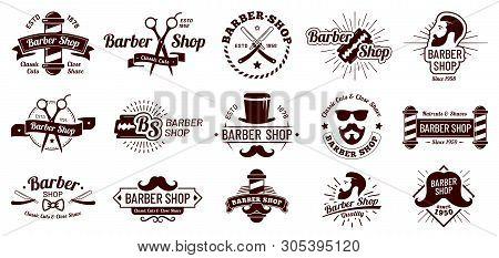 Vintage barber badges. Gentleman haircut styling, barbershop razor and shave salon. Mans hair haircuts badge vector illustration set stock photo