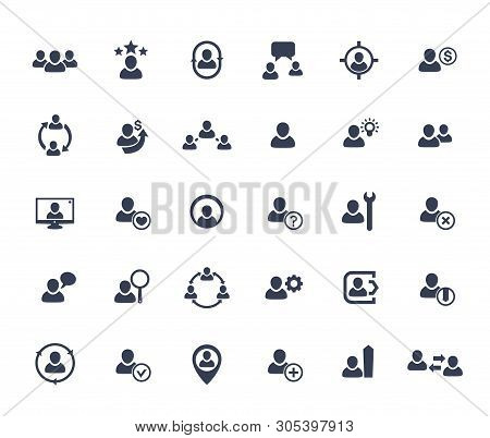 Human Resources, Hr, Personnel, Staff Management, Clients And Customers Vector Icons Set