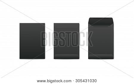 Mockups set of vertical blank open and closed black envelopes realistic style stock photo
