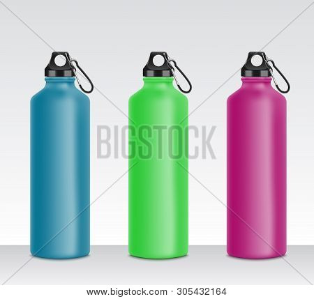 Colorful water bottle set for sport drink, realistic 3D mockup collection of metal beverage containers in blue, green, pink color stock photo