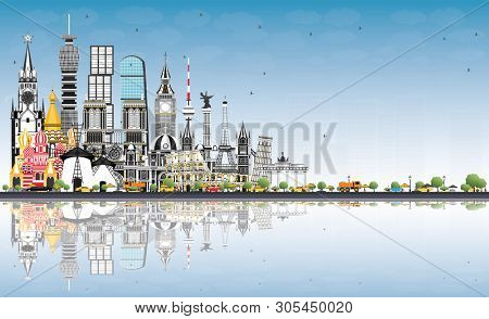 Welcome to Europe Skyline with Gray Buildings and Blue Sky. Tourism Concept with Historic Architecture. Europe Cityscape with Landmarks. London. Berlin. Moscow. Rome. Paris. stock photo