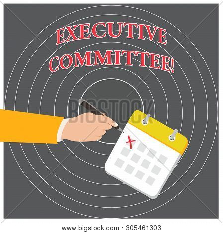 Conceptual hand writing showing Executive Committee. Business photo text Group of Directors appointed Has Authority in Decisions Formal Suit Crosses Off One Day Calendar Red Ink Ballpoint Pen. stock photo