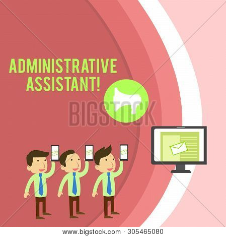 Conceptual hand writing showing Administrative Assistant. Business photo showcasing Administration Support Specialist Clerical Tasks SMS Email Marketing Media Audience Attraction PC Loudspeaker. stock photo