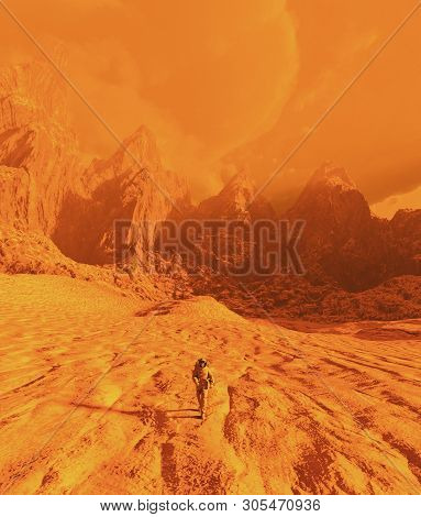 Astronaut walking on mars,3d illustration concept and ideas stock photo