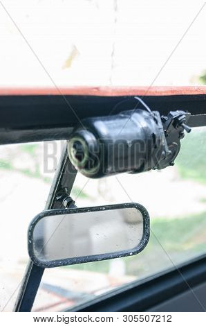 front mirror of the car with open top stock photo