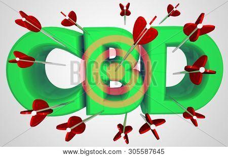 CBD Cannabidiol Marijuana Cannabis Arrows Target Bullseye 3d Illustration stock photo