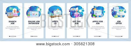 Mobile app onboarding screens. Job search, HR, online job interview, CV and work offer. Menu vector banner template for website and mobile development. Web site design flat illustration stock photo