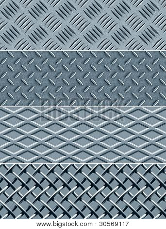 Four metal textures -- seamless vector patterns. Easy editable. stock photo