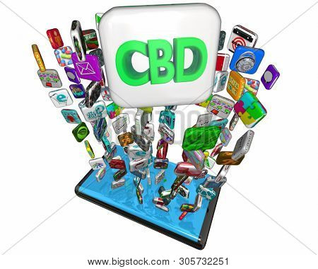 CBD Cannabidiol Marijuana Cannabis Apps Mobile Phone Services 3d Illustration stock photo