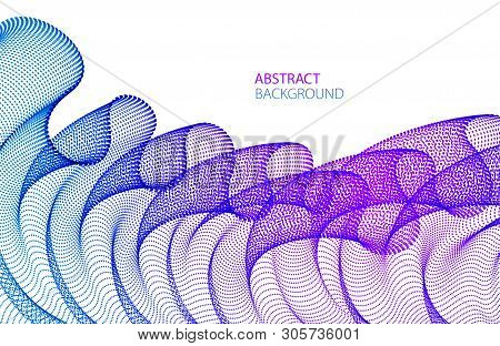 Wave of flowing particles modern relaxing illustration, transparent tulle textile on wind. Round dots vector abstract background. Beautiful wave shaped array of blended points. stock photo