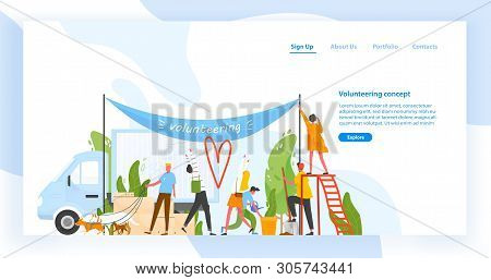 Website template with group of men and women volunteering, doing volunteer work or performing altruistic activities together. Modern flat vector illustration for charity organization advertisement. stock photo