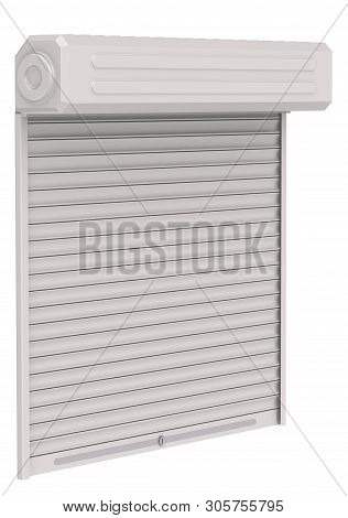 Protective shutters (roller blind, blinds). White roller blind isolated on white background. 3D Illustration stock photo