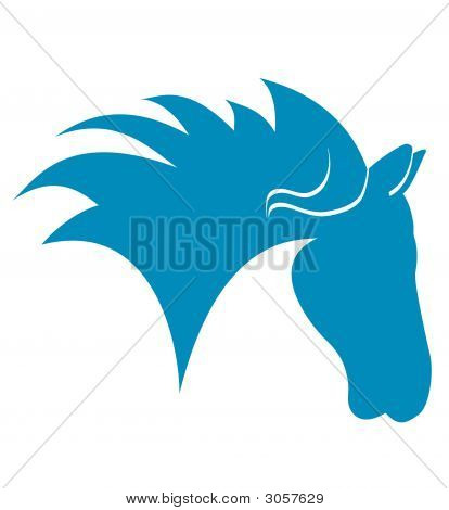 Horse Head Blue silhouette on a white background stock photo