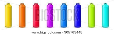 Creative illustration of gas cylinder, tank, balloon, container of propane, butane, acetylene, carbon dioxide isolated on background. Art design template. Abstract concept element stock photo