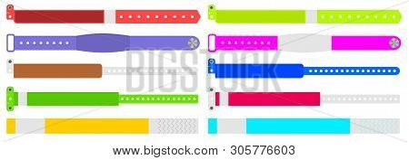Creative illustration of bracelets for entrance to the event isolated on background. Art design. Abstract concept graphic element for concert fan zone, dancing club, party, music festival stock photo