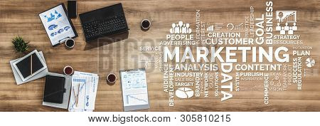 Digital Marketing Technology Solution for Online Business Concept - Graphic interface showing analytic diagram of online market promotion strategy on digital advertising platform via social media. stock photo
