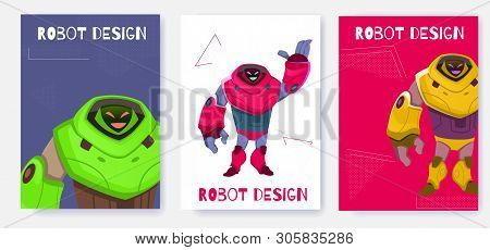 Set Next Generation Robot Card Design Cartoon Vector. Ease Use and Functionality Next Generation Cyborg. Illustration Impressive Size Artificial Intelligence Expresses Goodwill and Smiles. stock photo