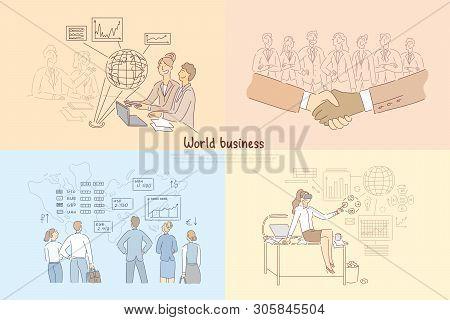 Global trade, digitalized business development, international partnership, stock market analytics, global trade banner stock photo