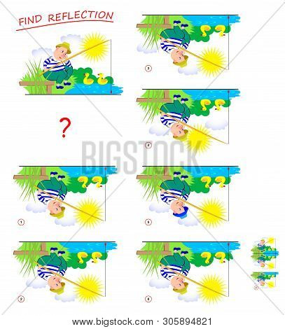 Logic puzzle game for kids. Need to find correct reflection of fisherman on the picture and draw it. Printable page for brainteaser book. Developing children spatial thinking. Vector cartoon image. stock photo