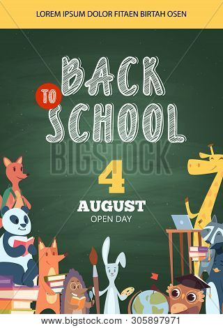 Back To School Poster. Open Day Party Event Invitation Placard Pictures Of Funny School Cartoon Anim